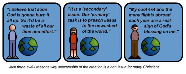 Commic pointing different thoughts about christianity, the bible, and the environment